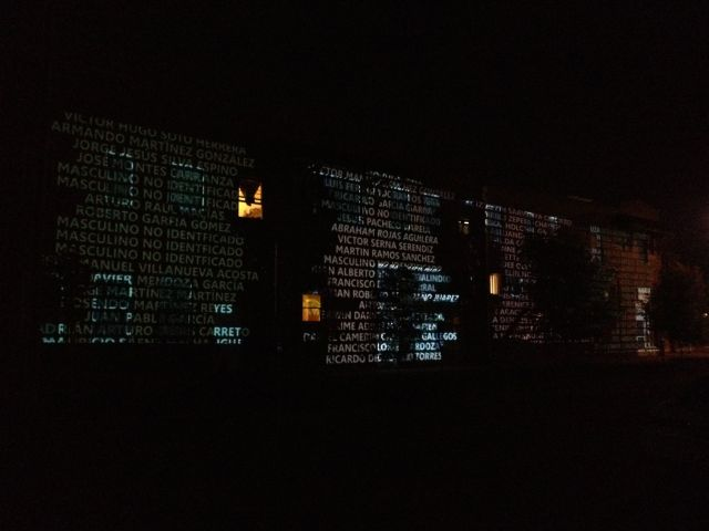 Projections of names on Annunciation House